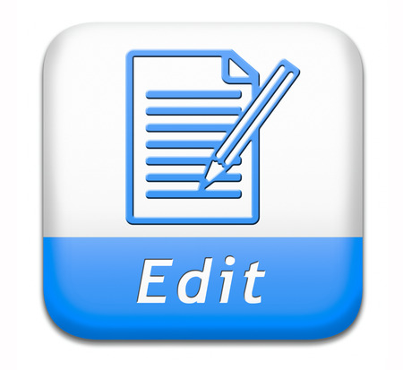 Edit editing button or icon, change correct or add information check info or spelling Banco de Imagens
