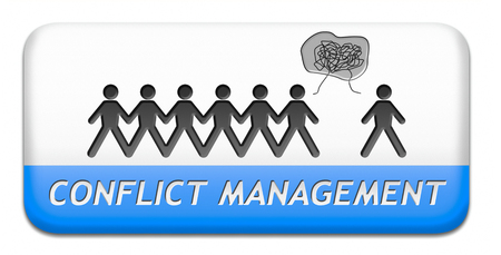 anger management: conflict management in business at work or between couple with different interest solve the problem and find resolution Stock Photo