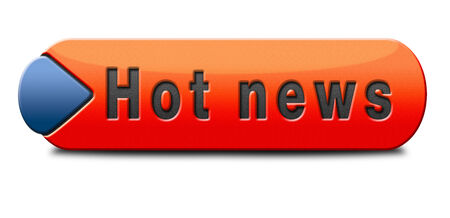 press release: hot news item breaking latest article or press release on a daily basis sign or button