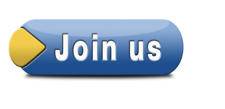 Join us here and now banner or registration for membership icon or sign. Do it today and become a member. photo