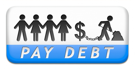 debt paying credit bank loan buy with credits making debts button or icon photo