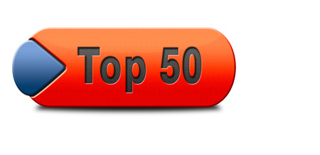 top 50 icon: top 50 charts list pop poll result and award winners chart ranking music hits best top fifty quality rating prize winner icon  Stock Photo