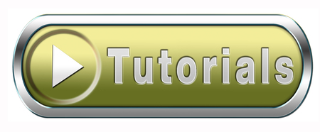 tutorial learn online video lesson, blue button banner or icon photo