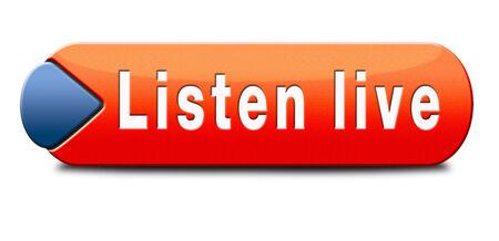 listen live stream: Listen live stream music song audio or radio button Stock Photo