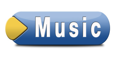 listen live stream: Music button or icon to play and to listen live stream or for download song Stock Photo