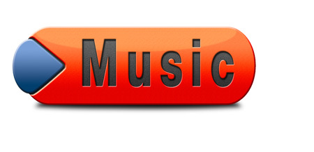live stream sign: Music button or icon to play and to listen live stream or for download song Stock Photo