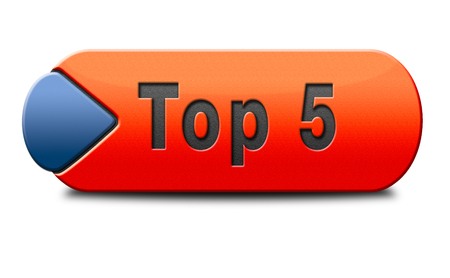 hits: top 5 charts list pop poll button result and award winners chart ranking music hits best top five quality rating prize winner icon  Stock Photo