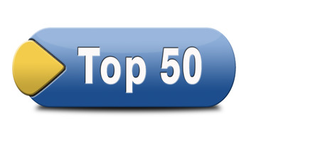 top 50 charts list pop poll result and award winners chart ranking music hits best top fifty quality rating prize winner icon  Stock Photo