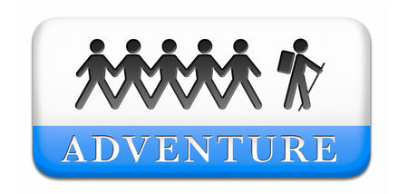 adventurer: adventure travel and explore the world adventurous backpacking outdoors sport and adventurer vacation Stock Photo