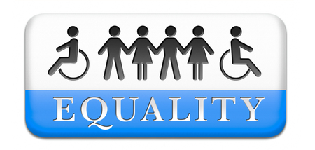 equality equal rights and opportunities for all women man disabled black and white solidarity discrimination of people with disability or physical and mental handicap photo