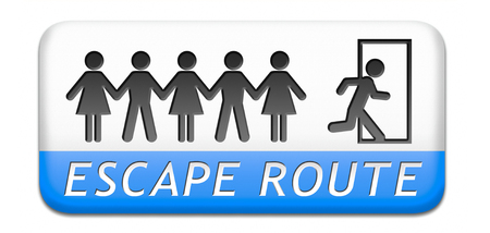 break out of prison: escape route avoid stress and break free running away paper chain button Stock Photo