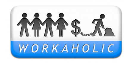 workaholic money slave working hard to earn income by doing over time in a difficult job like in slavery or being under paid paper cahin silhouette Stock Photo