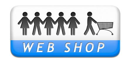 order online: web shop order online at internet webshop store, shopping button or icon Stock Photo
