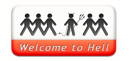 sinner: welcome to hell evil sinner go to the devil disaster burn in hell fire Stock Photo