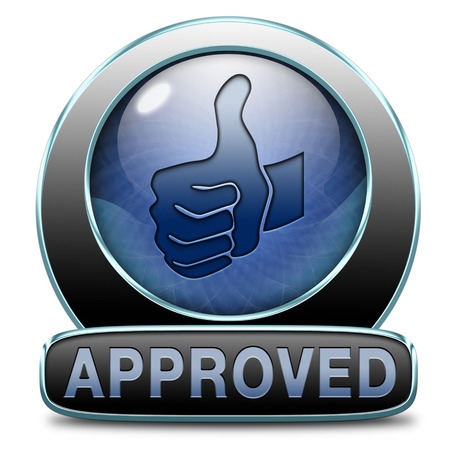 permission granted: approved passed test and access granted approval and accepted accredited button or icon Stock Photo