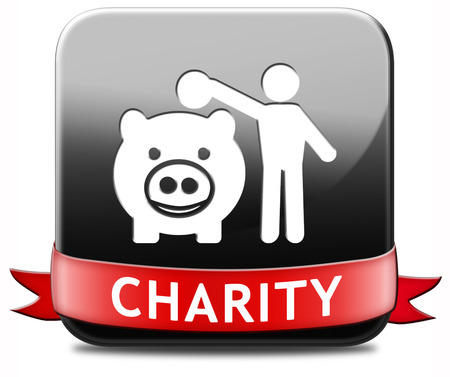 give money: charity button fund raising raise money to help donate give a generous donation or help with the fundraise gifts Stock Photo