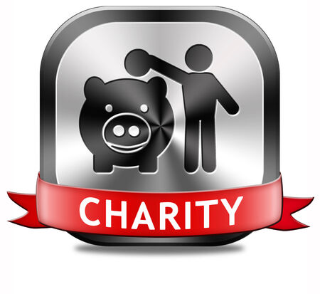 charity button fund raising raise money to help donate give a generous donation or help with the fundraise gifts Stock Photo