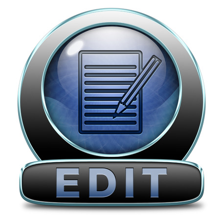 edit button: Edit button or icon, change correct or add information check info or spelling