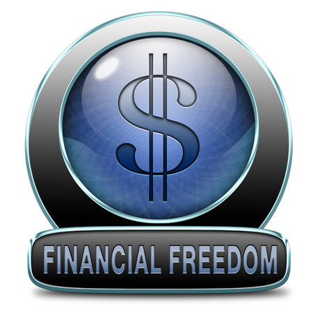 self sufficient: financial freedom and economic independence self sufficient with retirement plan and debt free sign.