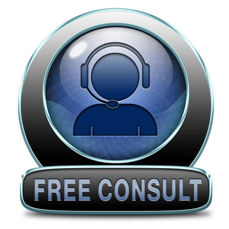 service desk: free consult icon or help and information desk button optimal customer support Gratis consultation service and advice.