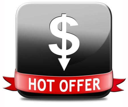 bargain for: hot offer icon or sign for online internet web shop. Webshop shopping sales button announcing bargain for low and best price with the best value for you money.