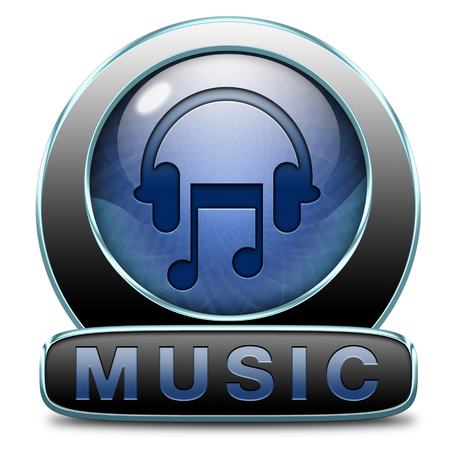live stream listening: Music button or icon to play and to listen live stream or for download song Stock Photo
