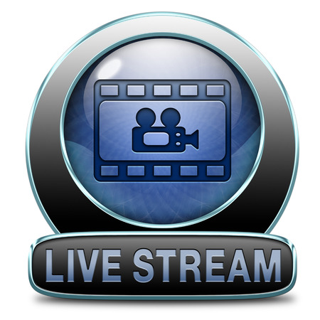 live stream listening: live stream video button icon or sign live on air broadcasting tv movie or watch television program