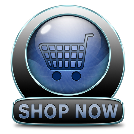 webshop: Shop now sign go to the online webshop button, internet web shopping icon