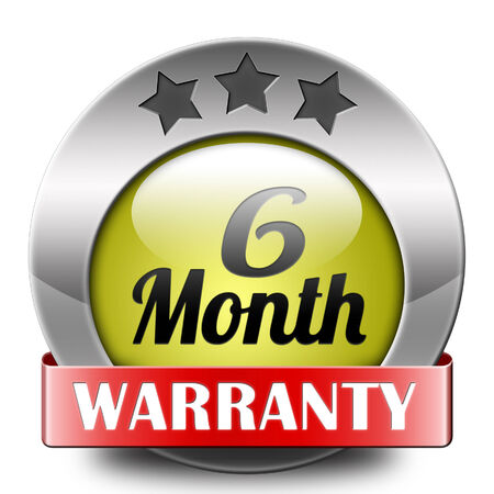 six months: 6 month warranty top quality product six months assurance and replacement best top quality guarantee guaranteed commitment Stock Photo