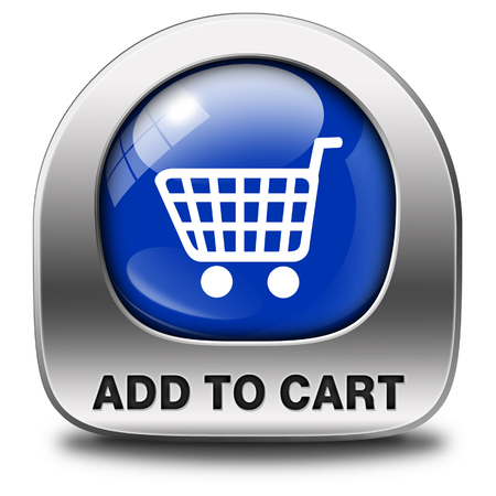 webshop: Add to shopping cart now icon go to the online webshop, internet web shopping button Stock Photo