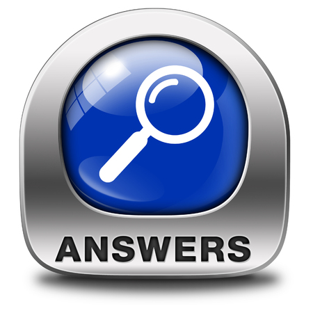 discover: find answers indicating way to solve problems answer button answer icon search answer and discover truth text and word concept
