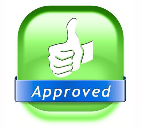 accredited: approved sign passed test and access granted approval and accepted accredited button or icon