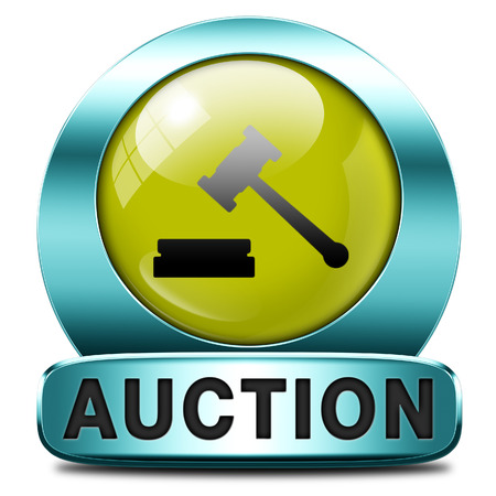 Auction sign online sale bidding and buying real estate cars and houses photo