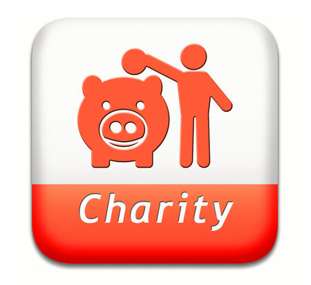 gifting: charity button fund raising raise money to help donate give a generous donation or help with the fundraise gifts Stock Photo