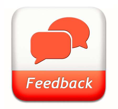 feedback or testimonials icon or button. Publical comments for improvement and customer satisfaction Stock Photo