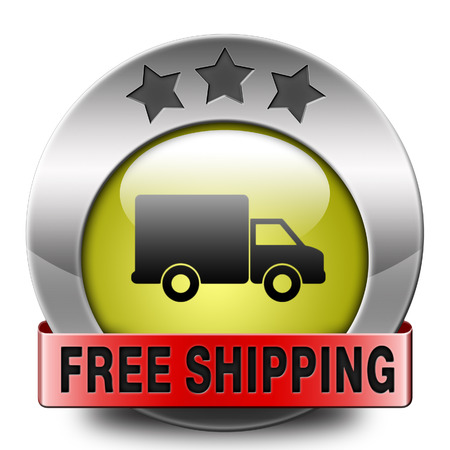 free shipping and package delivery from online internet web shop order, webshop icon or button photo