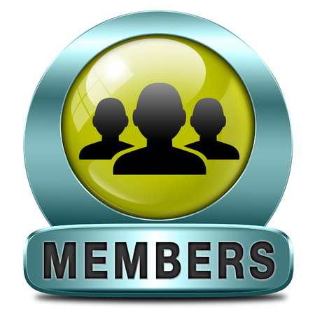 members only icon sign or sticker become a member and join here to get your membership label.  photo