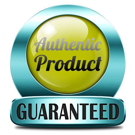 authenticity: authentic label or button or icon quality guaranteed label authenticity guarantee assurance label for highest product control