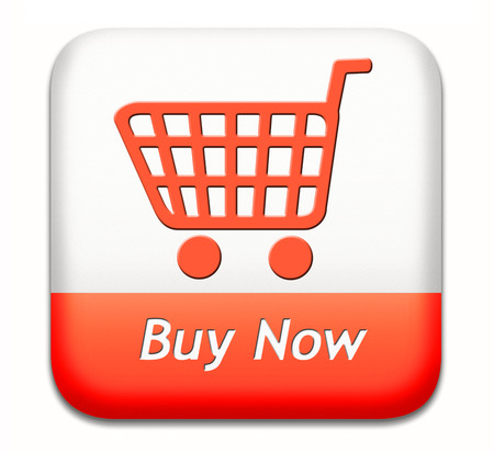 buy now button and here online sales sell on internet shop online shop buy and add to cart sign shopping webpage Foto de archivo