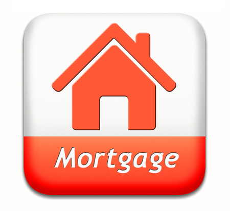 repossession: mortgage sign or button house loan paying money costs back to bank to avoid foreclosure and repossession problems Stock Photo