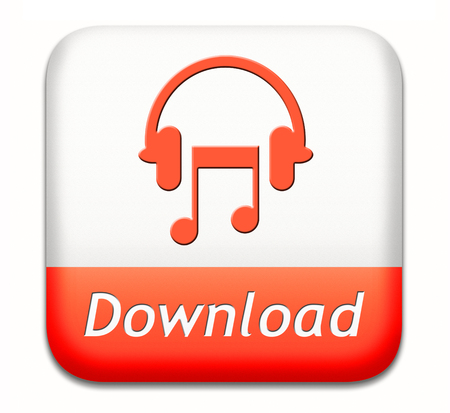 live stream listening: Music download button play and to listen live stream or for downloading mp3 song Stock Photo