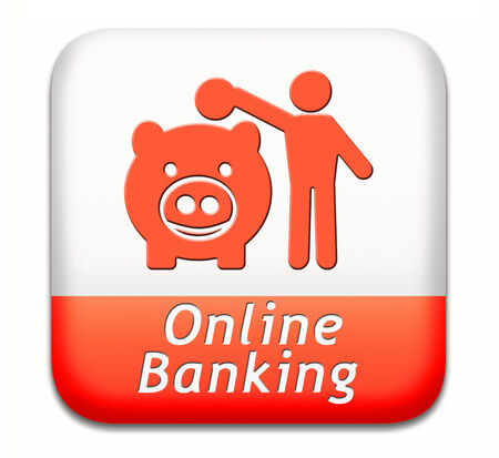 online banking: online banking money deposit on internet piggy bank account icon or button