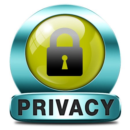 privacy button or icon protection of personal online data or confidential information, password protected info Stock Photo