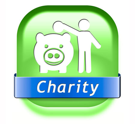 aiding: charity button fund raising raise money to help donate give a generous donation or help with the fundraise gifts Stock Photo