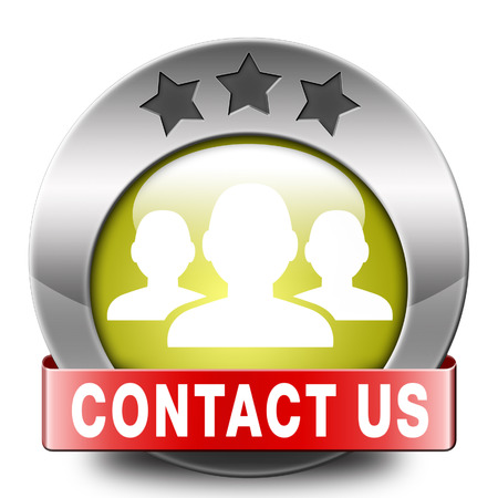 coordinates: contact us here for feedback icon or sign. Coordinates and address for customer support and extra information Stock Photo