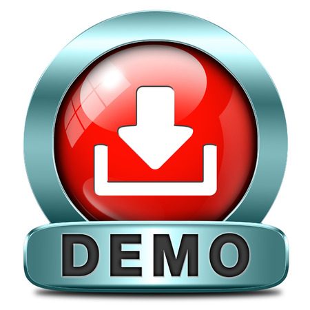 Demo download button or icon for free trial demonstration Stock Photo