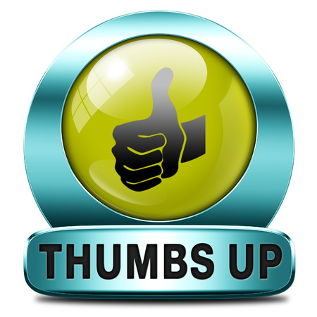 excellent: thumbs up Good and excellent work, job well done and task finished and accomplished. Sign or icon.  Stock Photo