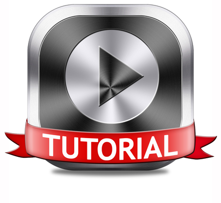 tutorials: tutorial button learn online video lesson or class, website education
