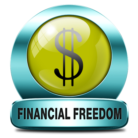 sufficient: financial freedom and economic independence, self sufficient icon.