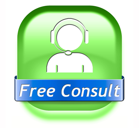free consult button or help and information desk icon optimal customer support Gratis consultation service and advice.  photo